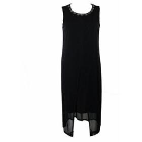 ファッション ドレス Connected Apparel Black Sleeveless Embellished Overlay Sheath Dress 10