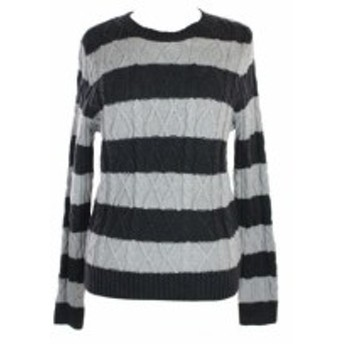 Pierre  ファッション トップス Jeanne Pierre New Grey Striped Cable-Knit Sweater L
