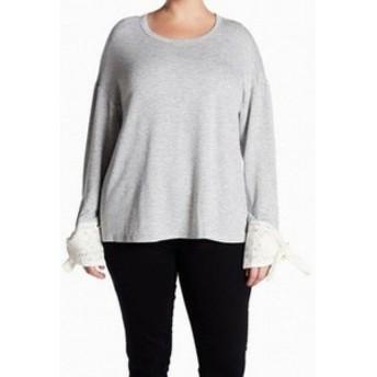 ファッション トップス Good Luck Gem NEW Gray Womens Size 1X Plus Lace Back Scoop Neck Sweater
