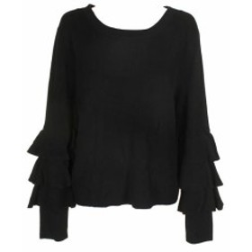 1.State ワンステイト ファッション トップス 1.State Rich Black Tiered Ruffled-Sleeve Crew Neck Sweater XL