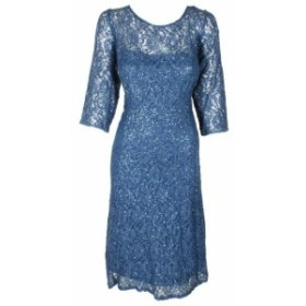 Sequin  ファッション ドレス SL Fashions Plus Size Blue 3/4 Sleeve Lace Sequin Cocktail A-Line Dress 18W
