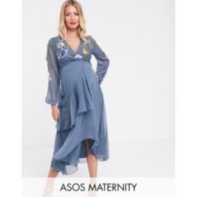 エイソス レディース ワンピース トップス ASOS DESIGN Maternity wrap midi dress with garden floral embroidery Blue embroidered