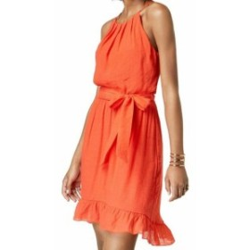 Ruffle  ファッション ドレス BCX NEW Orange Womens Size XL Belted Ruffle Hem Halter A-Line Dress