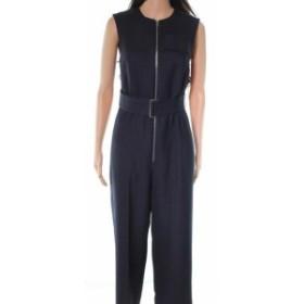 Victoria  ファッション ジャンプスーツ Victoria Beckham NEW Blue Dark Navy Belted Women 2 Zip Front Jumpsuit