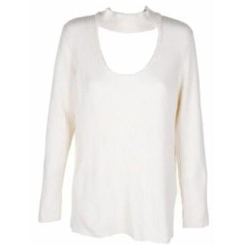 kensie ケンジー ファッション トップス Kensie Ivory Ribbed-Knit Long Sleeve Scoop Neck Choker Sweater L