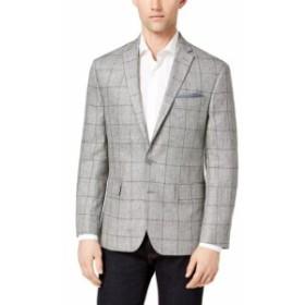 Blazer ブレザー ファッション フォーマル Ryan Seacrest Mens Gray Size 38 Short Windowpane Two Button Blazer