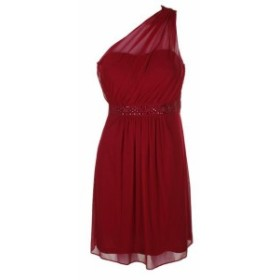 Adrianna Papell アドリアーナ パペル ファッション ドレス Adrianna Papell Red Beaded One-Shoulder Sheath Dress 8