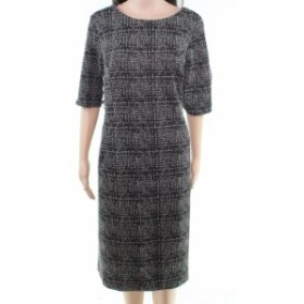 ファッション ドレス Lands End Womens Dress Black Beige Size 18T Textured Tweed Sheath