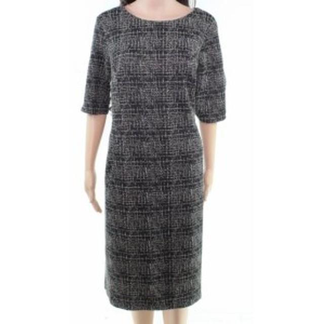 ファッション ドレス Lands End Womens Dress Black Beige Size 18T Textured Tweed Sheath