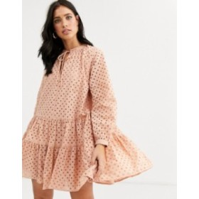 エイソス レディース ワンピース トップス ASOS DESIGN tiered trapeze mini dress in broderie Mink