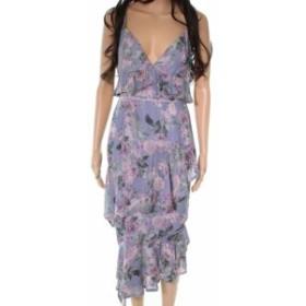 Maison  ファッション ドレス La Maison NEW Purple Floral Tiered Women Large L Chiffon Shift Dress