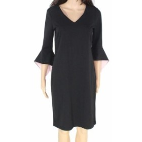 American  ファッション ドレス American Living Womens Black Size 8 Bell Sleeve V-Neck Sheath Dress