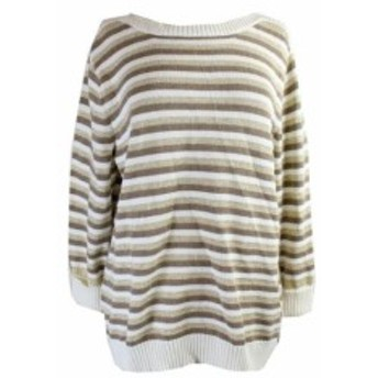 Scott  ファッション トップス Karen Scott Khaki Metallic Cuffed-Sleeve Striped Sweater XL