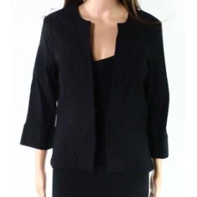 Tribal  ファッション 衣類 Tribal Womens Deep Black Size 14P Petite Split-Cuff Crepe Jacket
