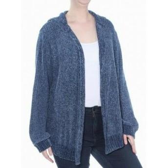 Gold ゴールド ファッション トップス Planet Gold Womens Sweater Dark Denim Blue Size 3X Plus Cardigan Hooded