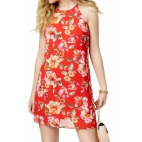 Red  ファッション ドレス BCX Red Size Small S Juniors Floral Printed Halter Shift Dress