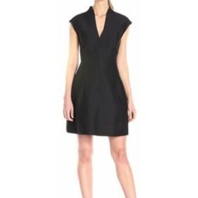 Halston Heritage ハルストンヘリテージ ファッション ドレス Halston Heritage Womens Dress Black Size 2 Cap Sleeve Flare A-Line