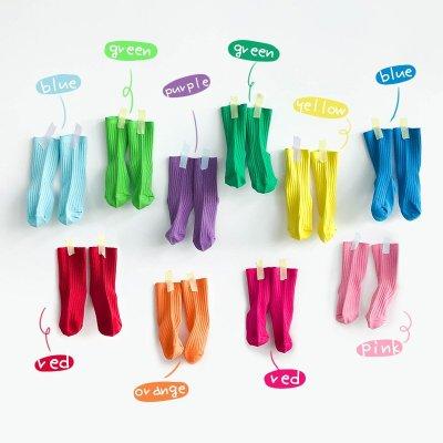 【小阿霏】兒童秋冬短襪 12色螢光純色雙針精梳棉條紋襪子 女童男童中小童中大童尺碼 PA374