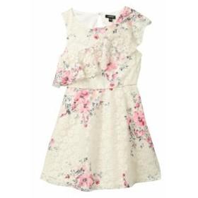 Zunie  ファッション ドレス Zunie Girls Dress Beige Pink Size 16 Floral Lace Ruffle Sleeveless
