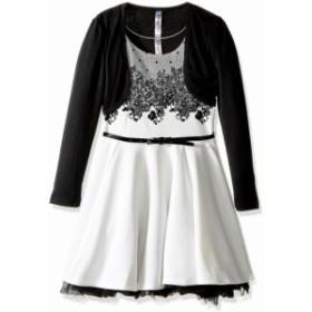 ファッション ドレス Beautees NEW Black White Girls Size 12 2pc Floral Fit Flare Belted Dress
