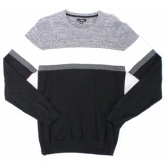 Alfani  ファッション トップス Alfani Mens Sweater Black White Size Medium M Colorblock Crewneck