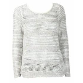 Sequin  ファッション トップス Inc International Concepts Beige Ivory Open Knit Sequin Jumper M