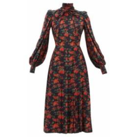 フランソワーズ Francoise レディース ワンピース ミドル丈 ワンピース・ドレス floral-print bow neck silk midi dress Navy