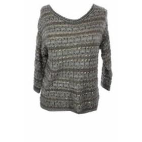 lucky ラッキー ファッション トップス Lucky Brand Jeans New Grey Three-Quarter-Sleeve Metallic Sweater L