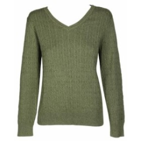 Scott  ファッション トップス Karen scott green marl cable-knit cotton long sleeve sweater neck v l