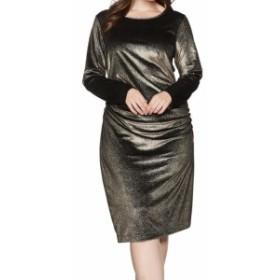 Gold ゴールド ファッション ドレス RACHEL Rachel Roy NEW Gold Womens 2X Plus Velvet Draped Dress