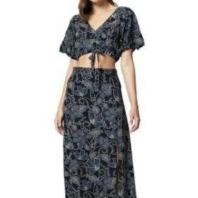 Sanctuary サンクチュアリ ファッション スカート Sanctuary Womens Black Multi Size XS Printed Front-Slit Maxi Skirt