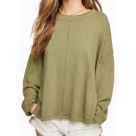 Free People フリーピープル ファッション トップス Free People Olive Green Womens Size Medium M Hi-Lo Pullover Sweater