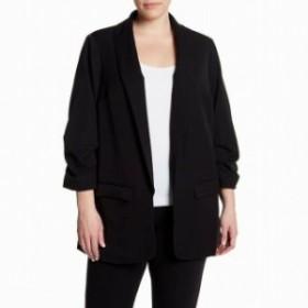 Blazer ブレザー ファッション 衣類 DR2 Womens Shawl-Collar Black Size 2X Plus Open-Front Blazer Jacket