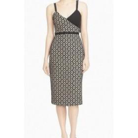 Sept  ファッション ドレス Cinq a Sept NEW Beige Womens Size 0 Colorblock V-Neck Sheath Dress