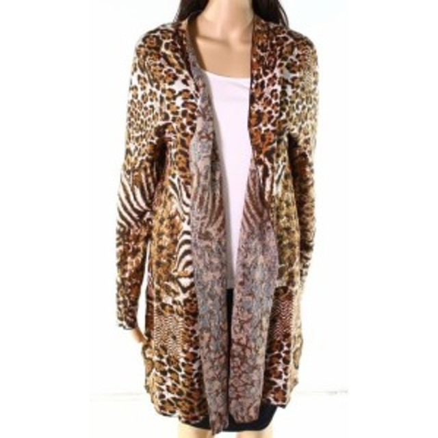 Nicole ニコール ファッション トップス Leo & Nicole NEW Brown Womens Size XL Open Front Animal Print Cardigan