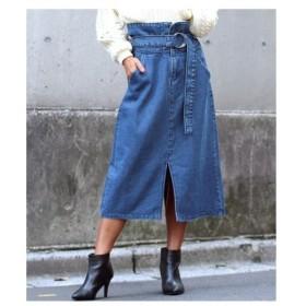 ANAP(アナップ)【LATINA】リングベルト付き前後センタースリットデニムスカート
