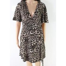 Soprano ソプラノ ファッション ドレス Soprano NEW Beige Womens Size Large L Leopard Print Wrap Sheath Dress