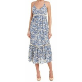 CeCe  ファッション ドレス Cece NEW Blue White Womens Size 10 Boho Ivy Forest Maxi Dress