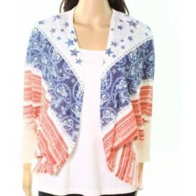 ファッション トップス Moa Moa NEW Cream White Womens Size Small S Mix-Print Cardigan Sweater