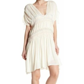 Free People フリーピープル ファッション ドレス Free People Womens White Ivory Size Large L Embroidered Shift Dress