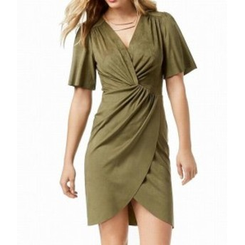 kensie ケンジー ファッション ドレス Kensie Womens Dress Green Size Medium M Sheath Suede Twisted Surplice