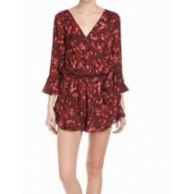 Free People フリーピープル ファッション ジャンプスーツ Free People Womens Romper Red Size XS Floral Print Flutter Sleeve