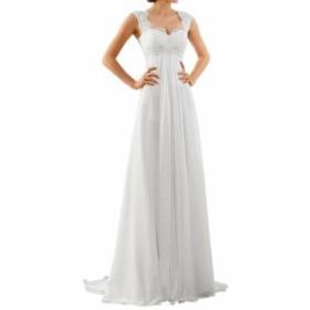 ファッション ドレス Abao Wedding NEW White Womens Size 2 Wedding Lace Yoke Chiffon Gown