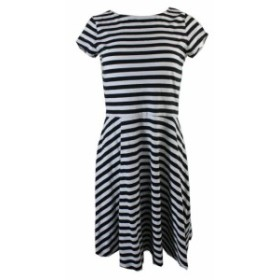 American  ファッション ドレス American living white and black striped cutout back point dress m