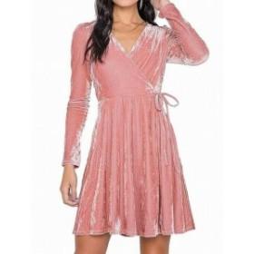 Soprano ソプラノ ファッション ドレス Soprano NEW Pink Blush Junior Size XS A-Line Fit & Flare Velvet Dress
