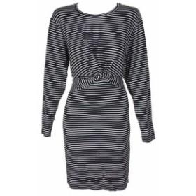 ファッション ドレス Whitespace black white striped long sleeve knot front bodycon dress 3x