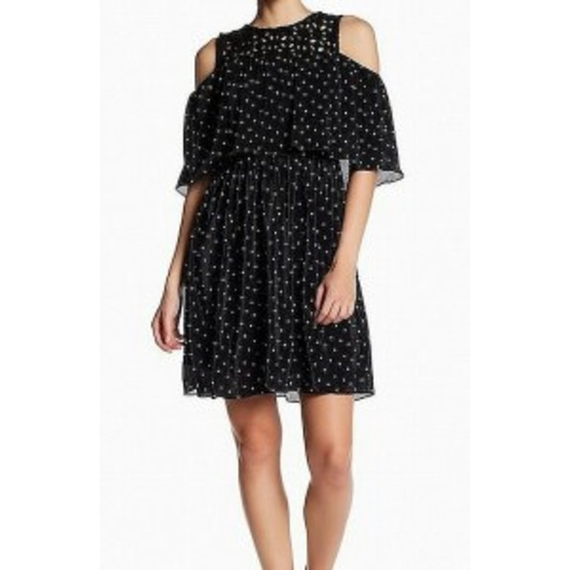 ファッション ドレス Eva Franco NEW Black White Polka Dot Cold-Shoulder 6 A-Line Dress
