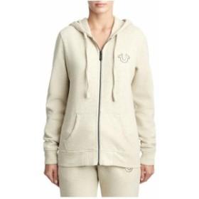 HEATHER  ファッション トップス True Religion Womens Metallic Foil Logo Hoodie Sweatshirt in Heather Oatmeal