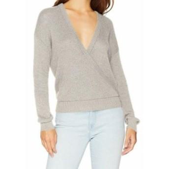 Splendid スプレンディッド ファッション トップス Splendid NEW Gray Womens Size Large L V-Neck Faux Wrap Sweater