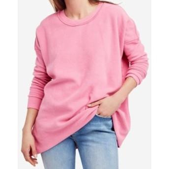 Free People フリーピープル ファッション トップス Free People NEW Pink Womens Small S Oversized Fleece Crewneck Sweater